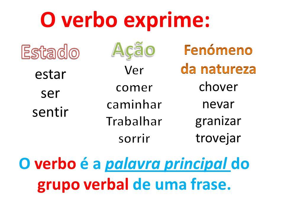 O verbo exprime: O verbo é a palavra principal do grupo verbal de uma frase.