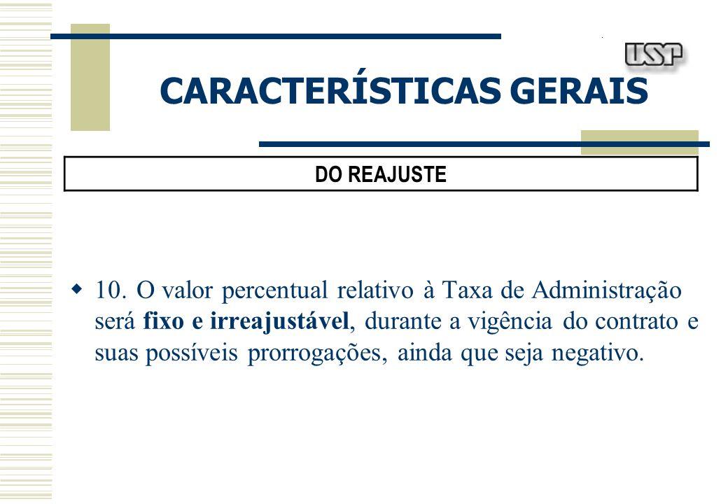 CARACTERÍSTICAS GERAIS DO REAJUSTE 10.O valor percentual relativo à Taxa de Administração será fixo e irreajustável, durante a vigência do contrato e suas possíveis prorrogações, ainda que seja negativo.