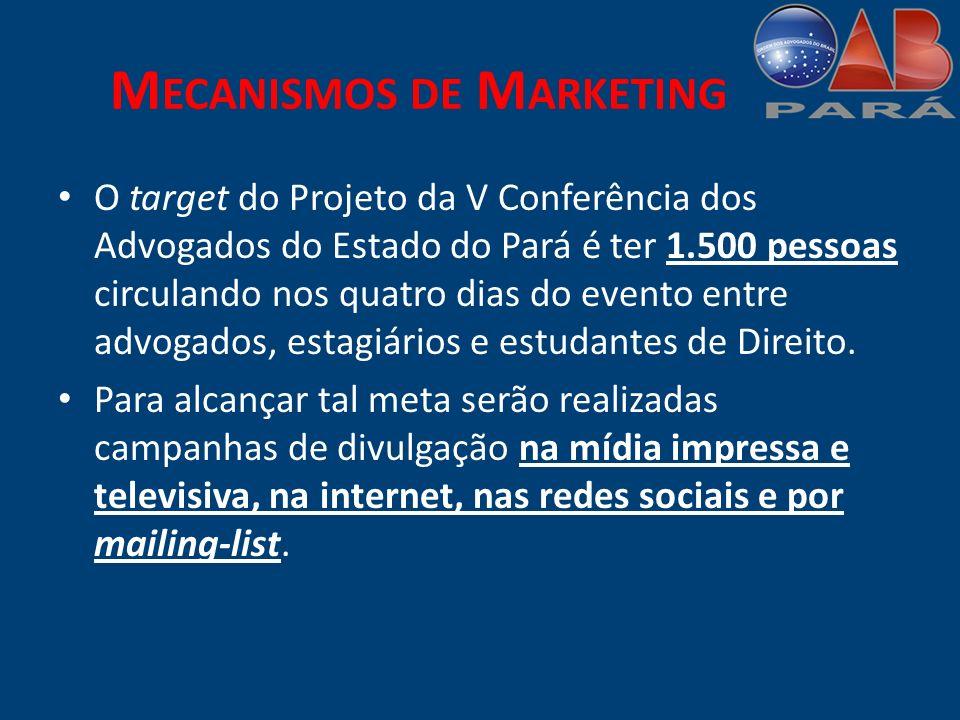 M ECANISMOS DE M ARKETING O target do Projeto da V Conferência dos Advogados do Estado do Pará é ter 1.500 pessoas circulando nos quatro dias do evento entre advogados, estagiários e estudantes de Direito.
