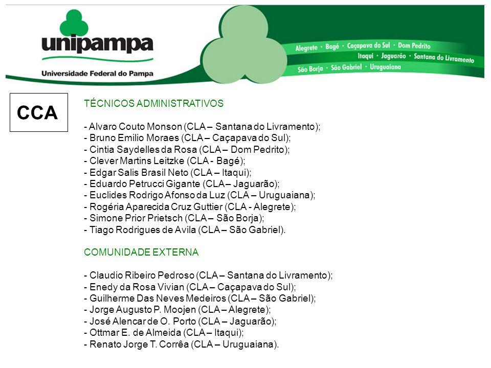 TÉCNICOS ADMINISTRATIVOS - Alvaro Couto Monson (CLA – Santana do Livramento); - Bruno Emilio Moraes (CLA – Caçapava do Sul); - Cintia Saydelles da Ros