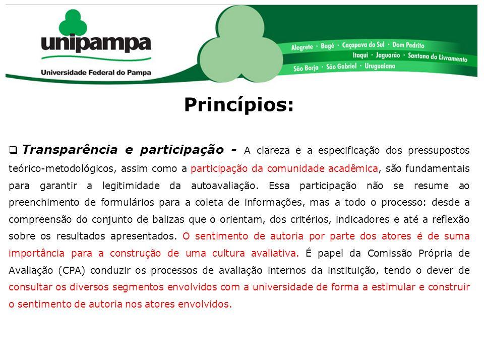 COMISSÃO PRÓPRIA DE AVALIAÇÃO (CPA) Princípios: Transparência e participação - A clareza e a especificação dos pressupostos teórico-metodológicos, ass