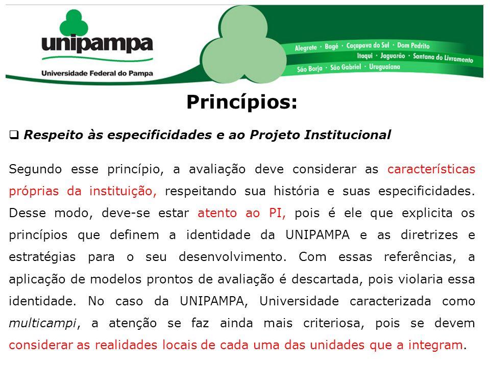 COMISSÃO PRÓPRIA DE AVALIAÇÃO (CPA) Princípios: Respeito às especificidades e ao Projeto Institucional Segundo esse princípio, a avaliação deve consid