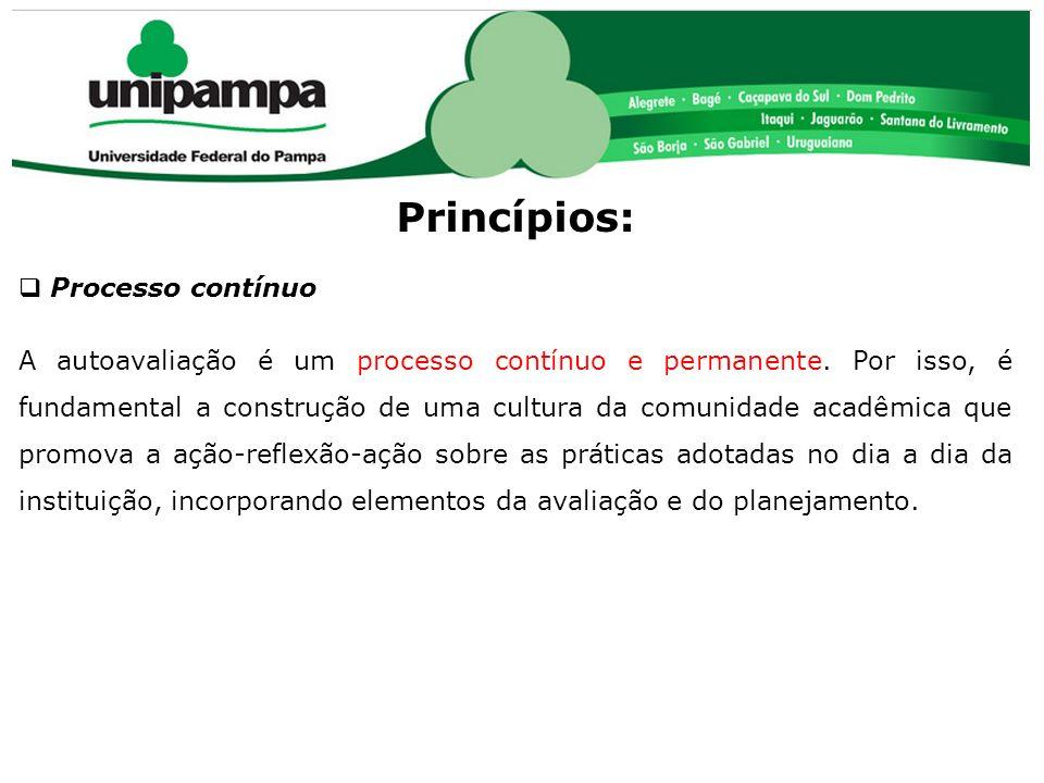 COMISSÃO PRÓPRIA DE AVALIAÇÃO (CPA) Princípios: Processo contínuo A autoavaliação é um processo contínuo e permanente. Por isso, é fundamental a const
