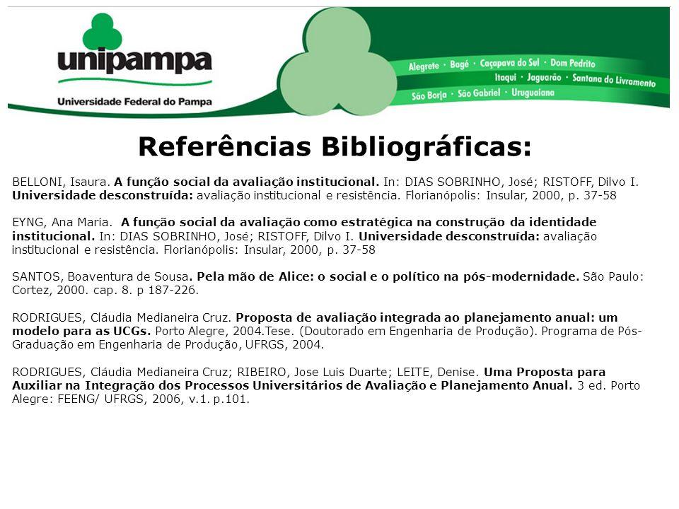 Referências Bibliográficas: BELLONI, Isaura. A função social da avaliação institucional. In: DIAS SOBRINHO, José; RISTOFF, Dilvo I. Universidade desco