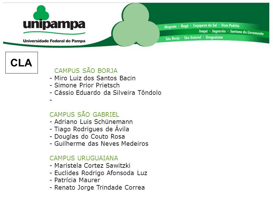 CAMPUS SÃO BORJA - Miro Luiz dos Santos Bacin - Simone Prior Prietsch - Cássio Eduardo da Silveira Tôndolo - CAMPUS SÃO GABRIEL - Adriano Luis Schünem