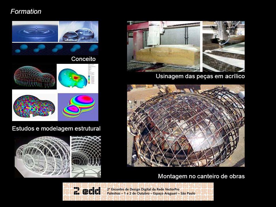 Formation Conceito Estudos e modelagem estrutural Usinagem das peças em acrílico Montagem no canteiro de obras