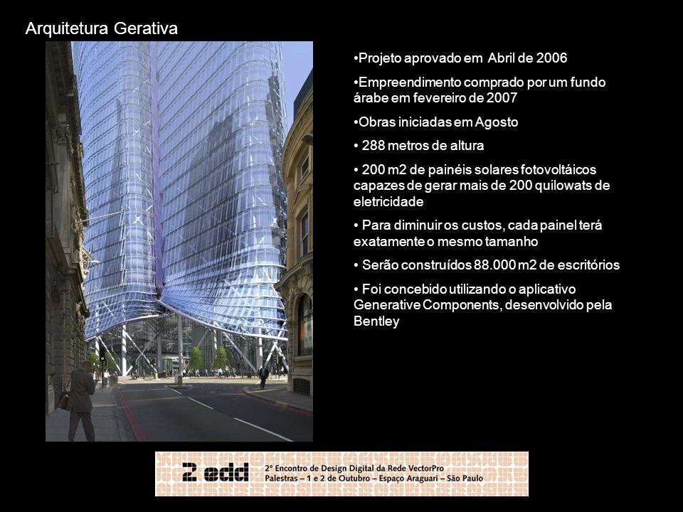 Arquitetura Gerativa Projeto aprovado em Abril de 2006 Empreendimento comprado por um fundo árabe em fevereiro de 2007 Obras iniciadas em Agosto 288 m