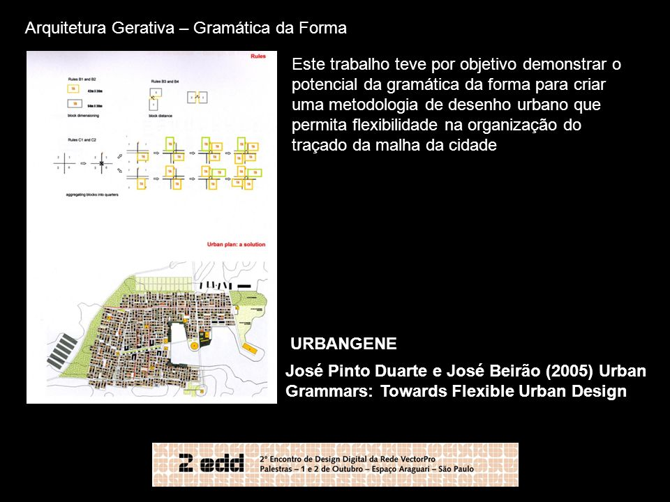 Arquitetura Gerativa – Gramática da Forma José Pinto Duarte e José Beirão (2005) Urban Grammars: Towards Flexible Urban Design URBANGENE Este trabalho