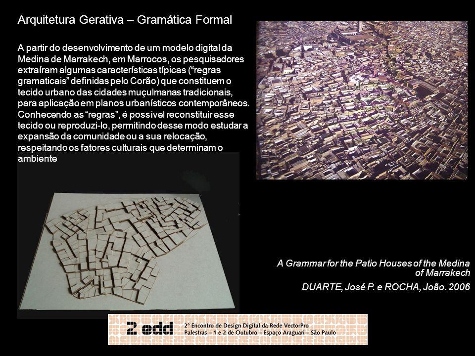 Arquitetura Gerativa – Gramática Formal A partir do desenvolvimento de um modelo digital da Medina de Marrakech, em Marrocos, os pesquisadores extraír