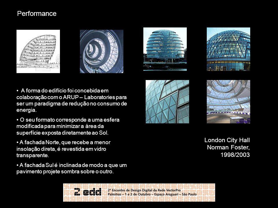 Performance London City Hall Norman Foster, 1998/2003 A forma do edifício foi concebida em colaboração com o ARUP – Laboratories para ser um paradigma