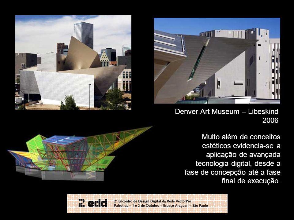 Denver Art Museum – Libeskind 2006 Muito além de conceitos estéticos evidencia-se a aplicação de avançada tecnologia digital, desde a fase de concepçã
