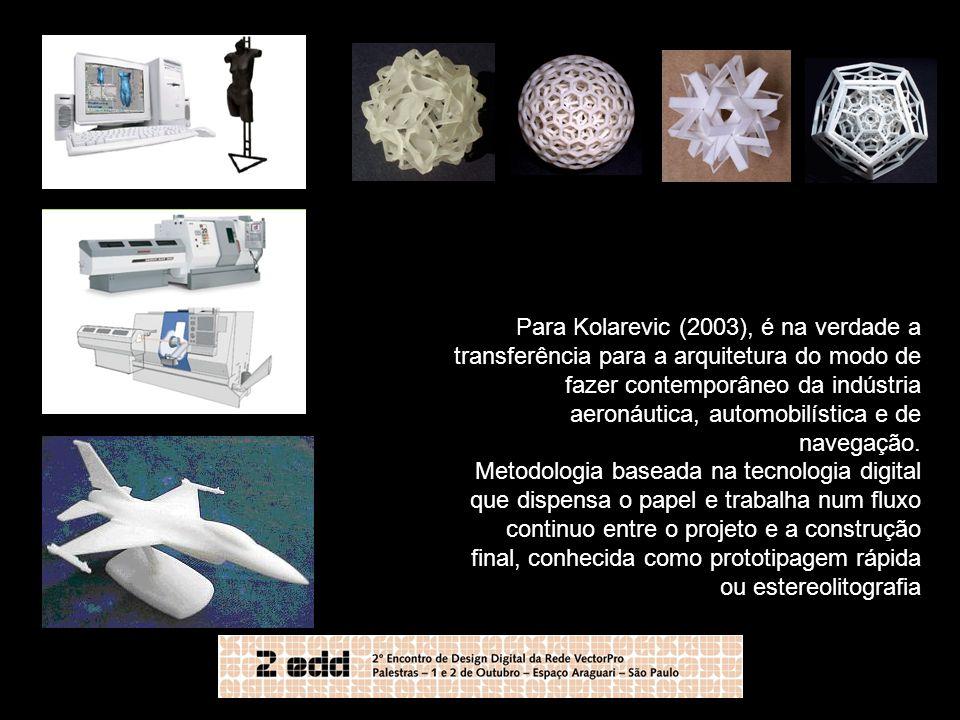 Para Kolarevic (2003), é na verdade a transferência para a arquitetura do modo de fazer contemporâneo da indústria aeronáutica, automobilística e de n