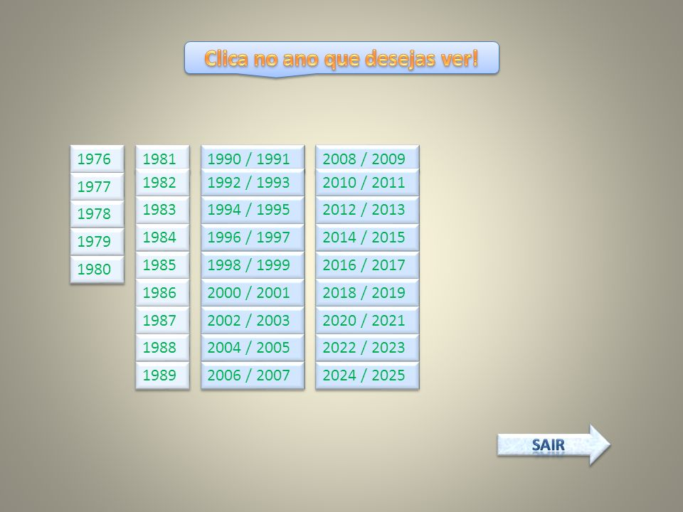 1976 1977 1978 1979 1980 1981 1982 1983 1984 1985 1986 1987 1988 1989 1990 / 1991 1992 / 1993 1994 / 1995 1996 / 1997 1998 / 1999 2000 / 2001 2002 / 2003 2004 / 2005 2006 / 2007 2008 / 2009 2010 / 2011 2012 / 2013 2014 / 2015 2016 / 2017 2018 / 2019 2020 / 2021 2022 / 2023 2024 / 2025