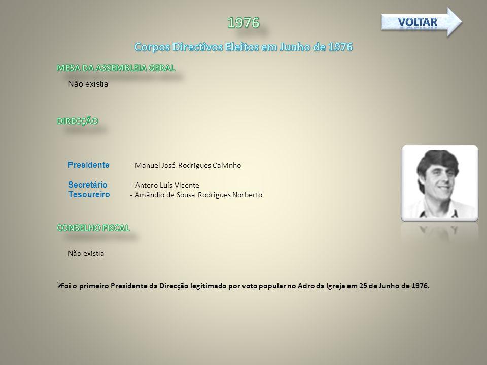 Não existia Presidente - Manuel José Rodrigues Calvinho Secretário - Antero Luís Vicente Tesoureiro - Amândio de Sousa Rodrigues Norberto Não existia Foi o primeiro Presidente da Direcção legitimado por voto popular no Adro da Igreja em 25 de Junho de 1976.