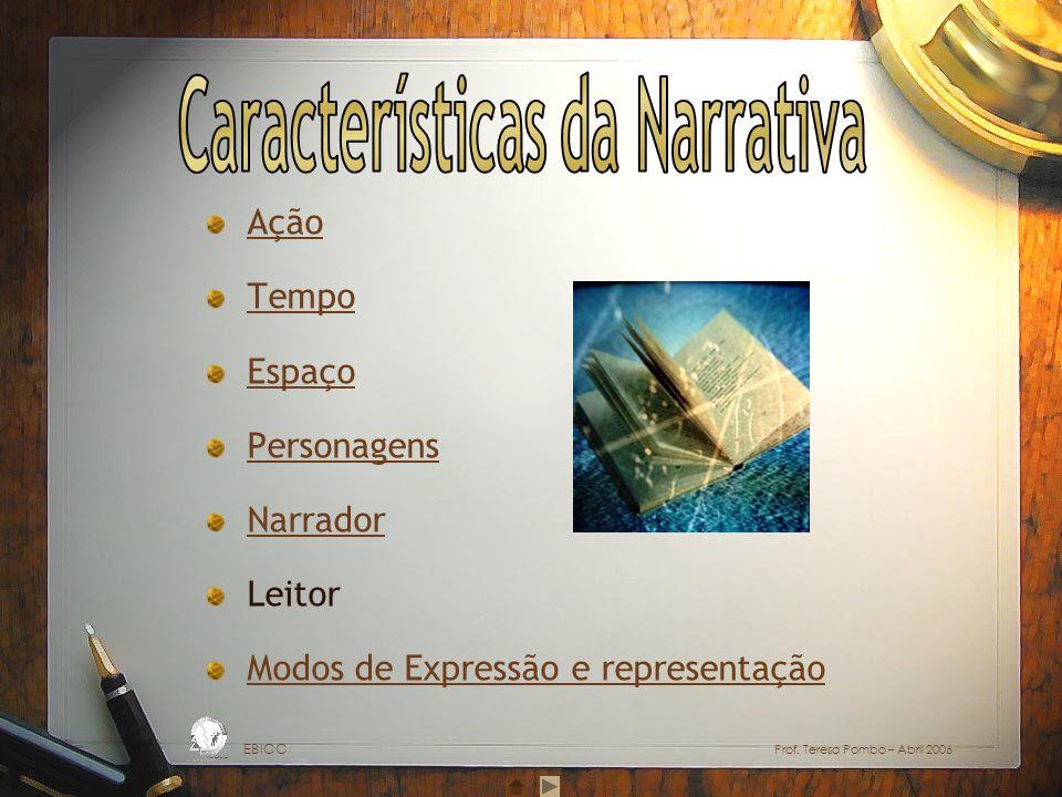 Ação Tempo Espaço Personagens Narrador Leitor Modos de Expressão e representação EBICC Prof. Teresa Pombo – Abril 2006