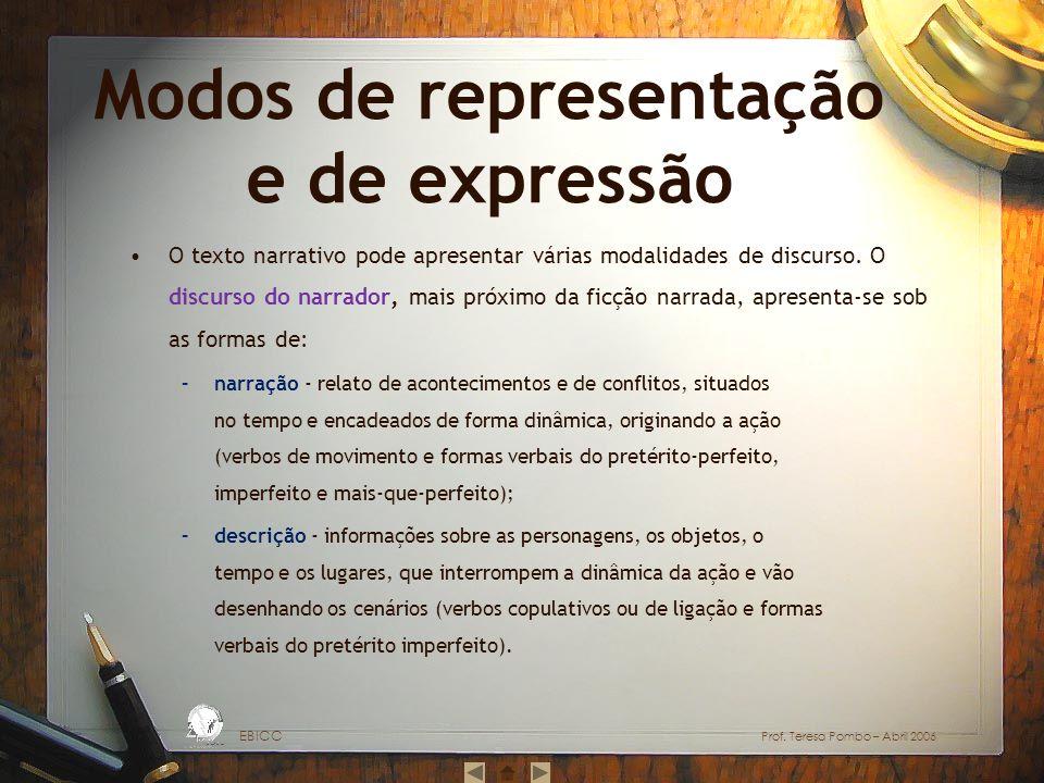 Modos de representação e de expressão O texto narrativo pode apresentar várias modalidades de discurso. O discurso do narrador, mais próximo da ficção