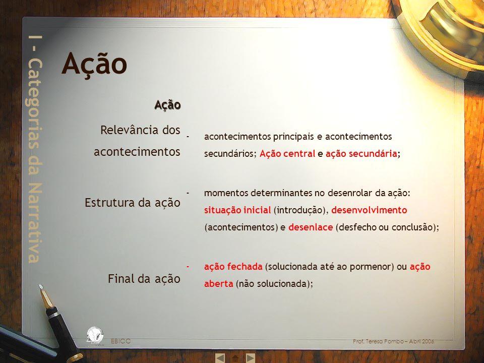 I - Categorias da Narrativa -acontecimentos principais e acontecimentos secundários; Ação central e ação secundária; -momentos determinantes no desenrolar da ação: situação inicial (introdução), desenvolvimento (acontecimentos) e desenlace (desfecho ou conclusão); -ação fechada (solucionada até ao pormenor) ou ação aberta (não solucionada); EBICC Prof.