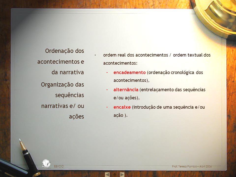 ordem real dos acontecimentos / ordem textual dos acontecimentos: encadeamento (ordenação cronológica dos acontecimentos), alternância (entrelaçamento das sequências e/ou ações), encaixe (introdução de uma sequência e/ou ação ).