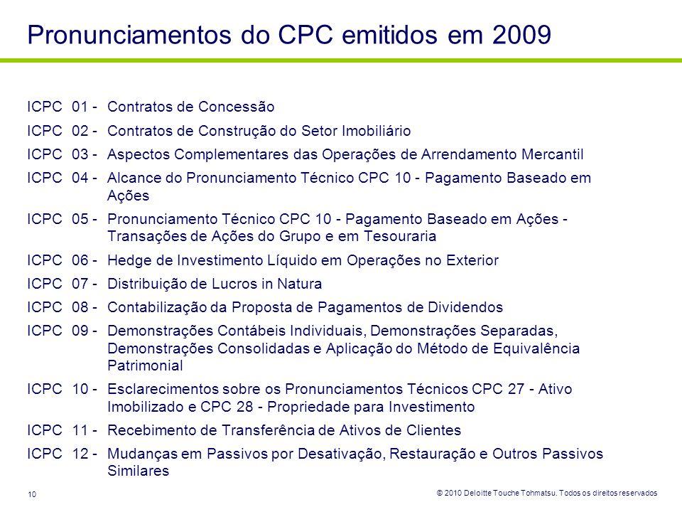 © 2010 Deloitte Touche Tohmatsu. Todos os direitos reservados 10 ICPC 01 -Contratos de Concessão ICPC 02 -Contratos de Construção do Setor Imobiliário