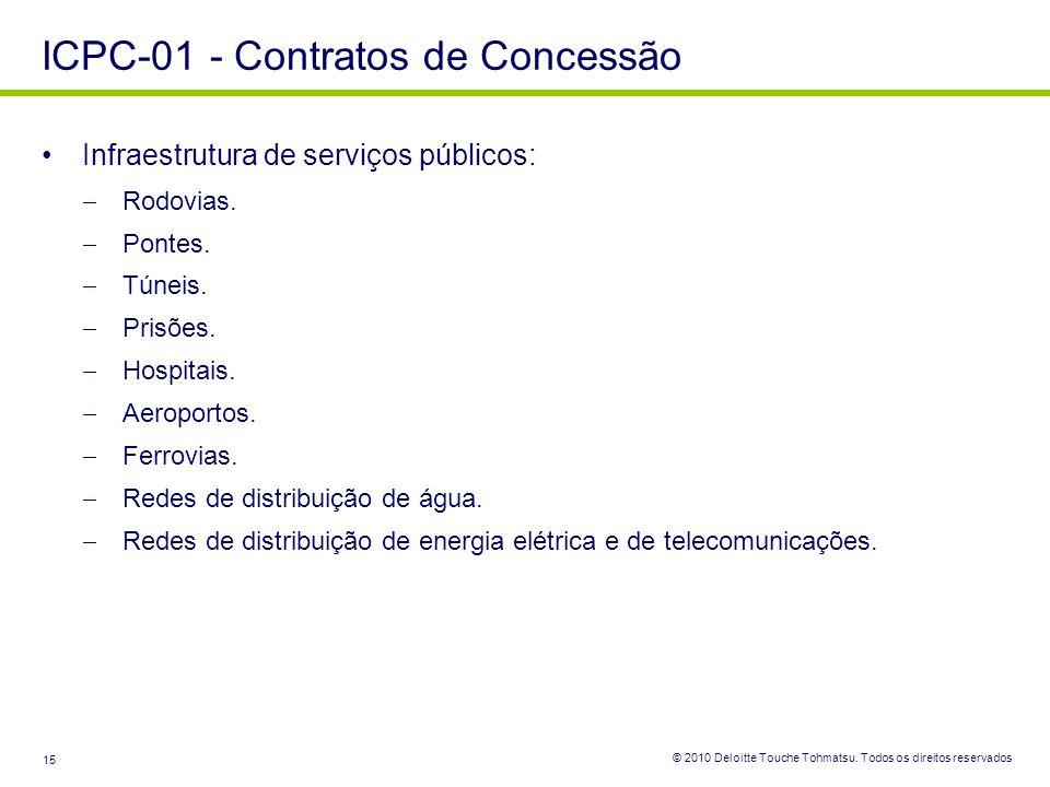 © 2010 Deloitte Touche Tohmatsu. Todos os direitos reservados 15 Infraestrutura de serviços públicos: Rodovias. Pontes. Túneis. Prisões. Hospitais. Ae