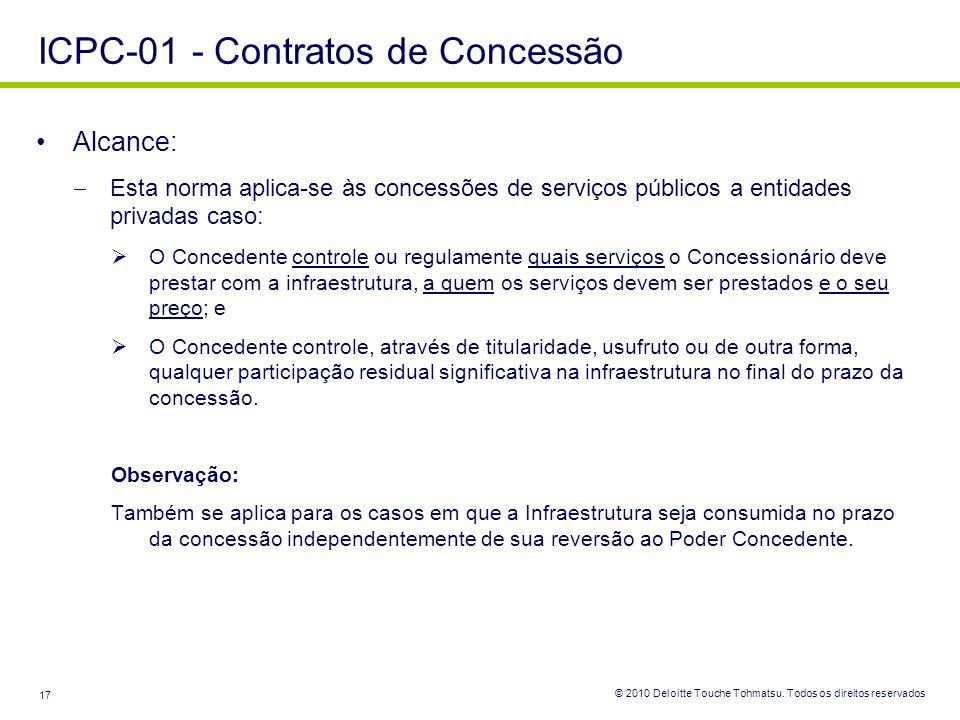 © 2010 Deloitte Touche Tohmatsu. Todos os direitos reservados 17 Alcance: Esta norma aplica-se às concessões de serviços públicos a entidades privadas