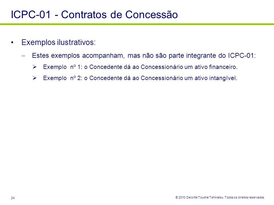 © 2010 Deloitte Touche Tohmatsu. Todos os direitos reservados 24 ICPC-01 - Contratos de Concessão Exemplos ilustrativos: Estes exemplos acompanham, ma