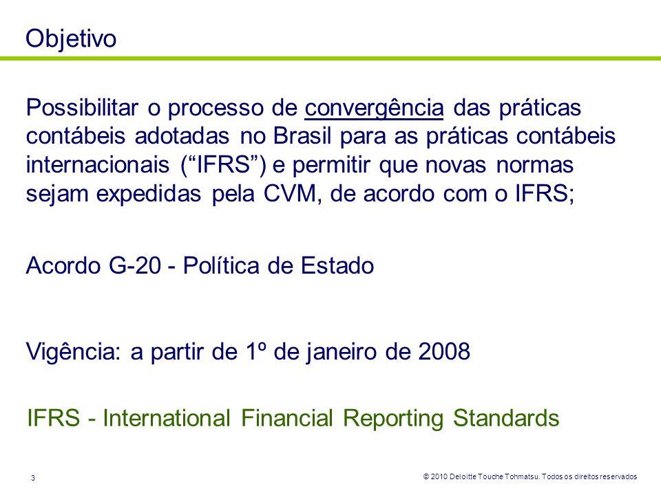 © 2010 Deloitte Touche Tohmatsu. Todos os direitos reservados 3 Objetivo Possibilitar o processo de convergência das práticas contábeis adotadas no Br