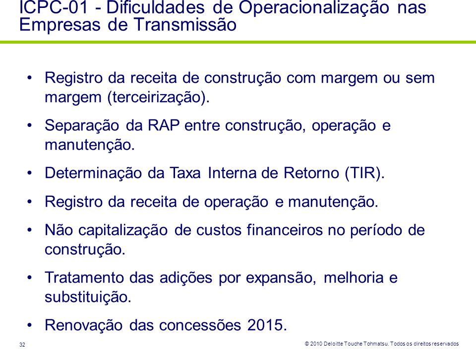 © 2010 Deloitte Touche Tohmatsu. Todos os direitos reservados 32 ICPC-01 - Dificuldades de Operacionalização nas Empresas de Transmissão Registro da r