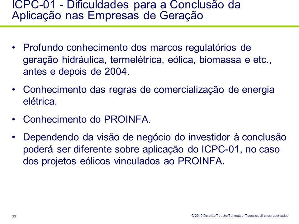 © 2010 Deloitte Touche Tohmatsu. Todos os direitos reservados 33 Profundo conhecimento dos marcos regulatórios de geração hidráulica, termelétrica, eó