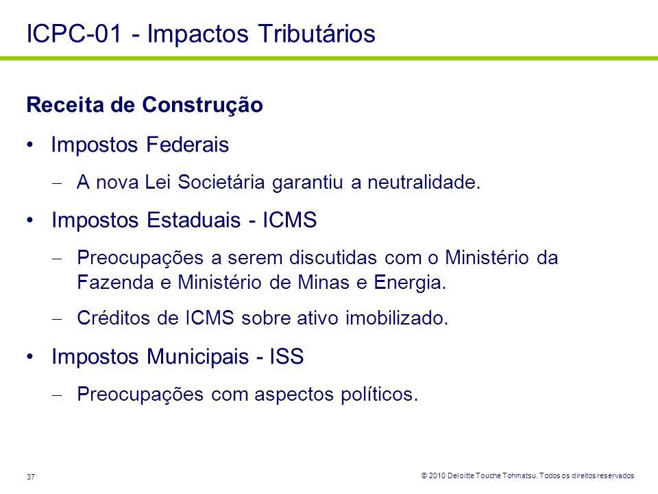© 2010 Deloitte Touche Tohmatsu. Todos os direitos reservados 37 Receita de Construção Impostos Federais A nova Lei Societária garantiu a neutralidade