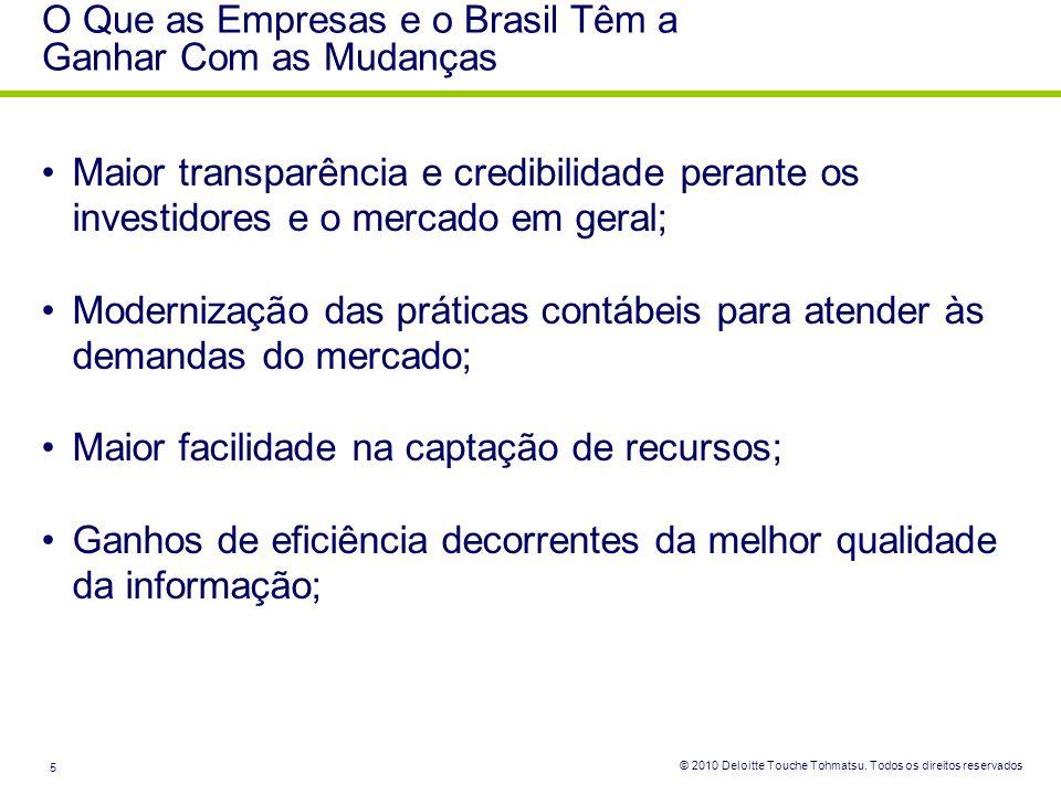 © 2010 Deloitte Touche Tohmatsu. Todos os direitos reservados 5 O Que as Empresas e o Brasil Têm a Ganhar Com as Mudanças Maior transparência e credib