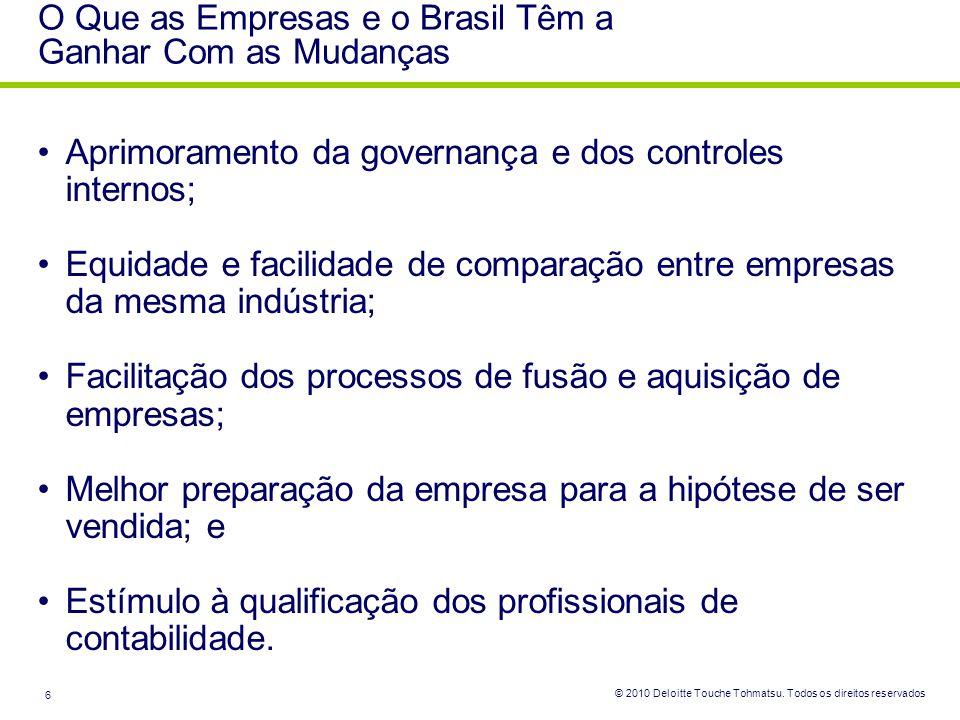 © 2010 Deloitte Touche Tohmatsu. Todos os direitos reservados 6 Aprimoramento da governança e dos controles internos; Equidade e facilidade de compara