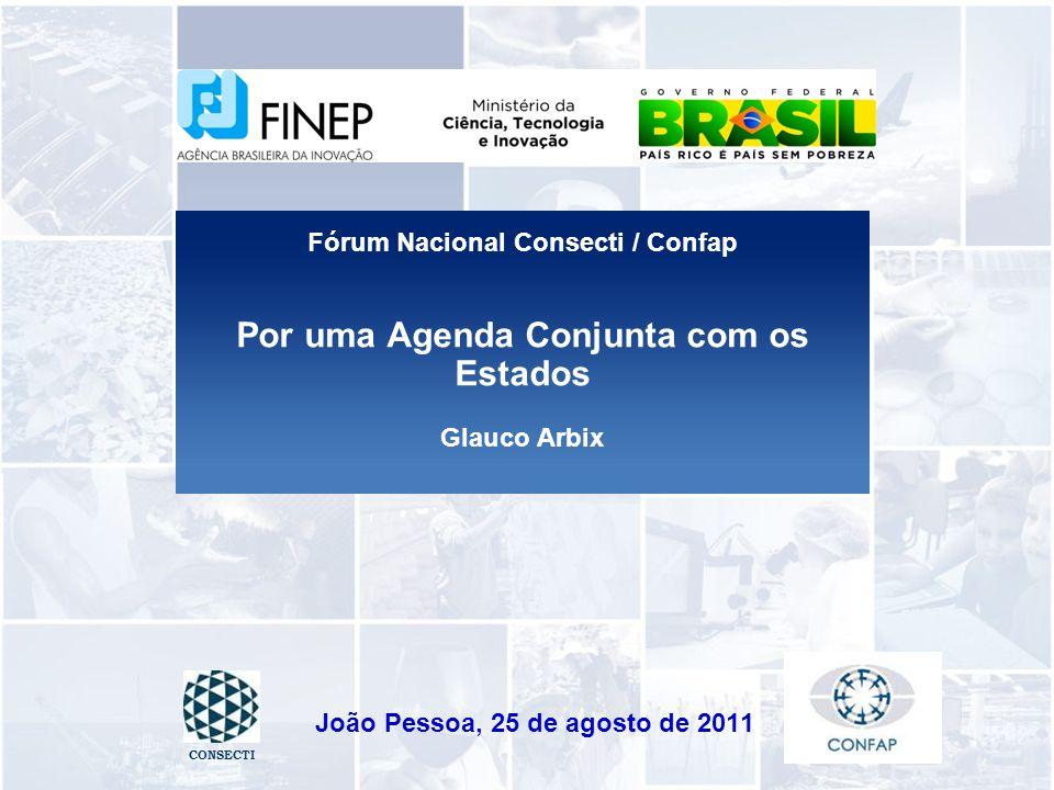 Por uma Agenda Conjunta com os Estados Glauco Arbix João Pessoa, 25 de agosto de 2011 CONSECTI Fórum Nacional Consecti / Confap