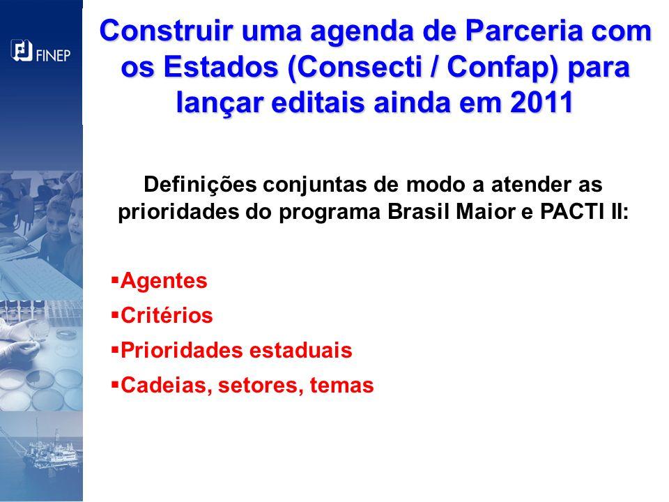 Definições conjuntas de modo a atender as prioridades do programa Brasil Maior e PACTI II: Agentes Critérios Prioridades estaduais Cadeias, setores, t