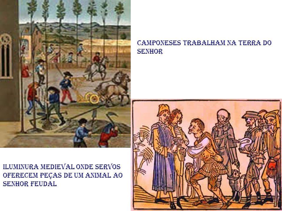 Camponeses trabalham na terra do senhor Iluminura medieval onde servos oferecem peças de um animal ao senhor feudal