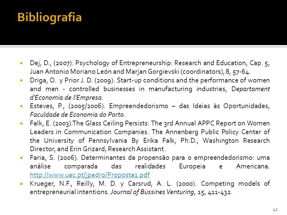 Dej, D., (2007). Psychology of Entrepreneurship: Research and Education, Cap. 5, Juan Antonio Moriano León and Marjan Gorgievski (coordinators), 8, 57