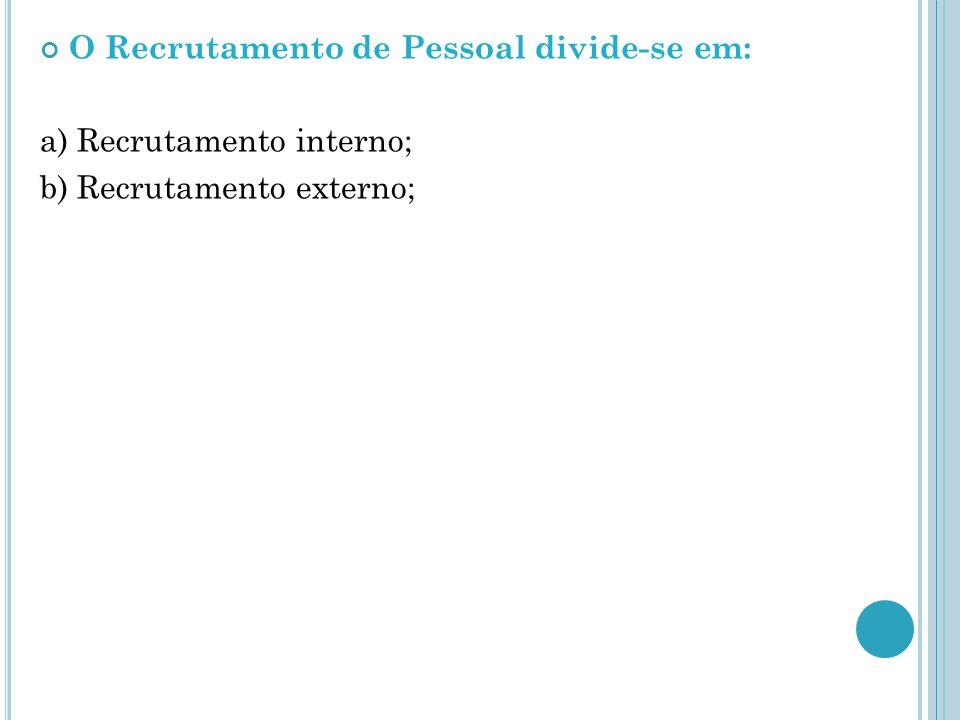 O Recrutamento de Pessoal divide-se em: a) Recrutamento interno; b) Recrutamento externo;