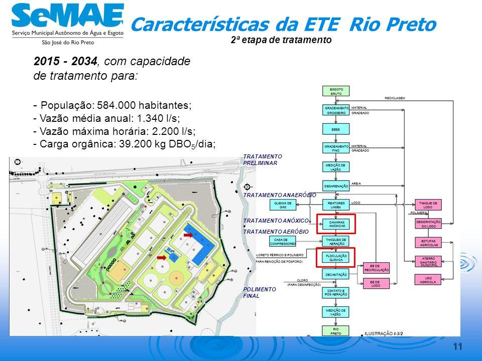 10 Características da ETE Rio Preto 1ª etapa de tratamento – 2ª fase 2015 - 2034, com capacidade de tratamento para: - População: 584.000 habitantes;