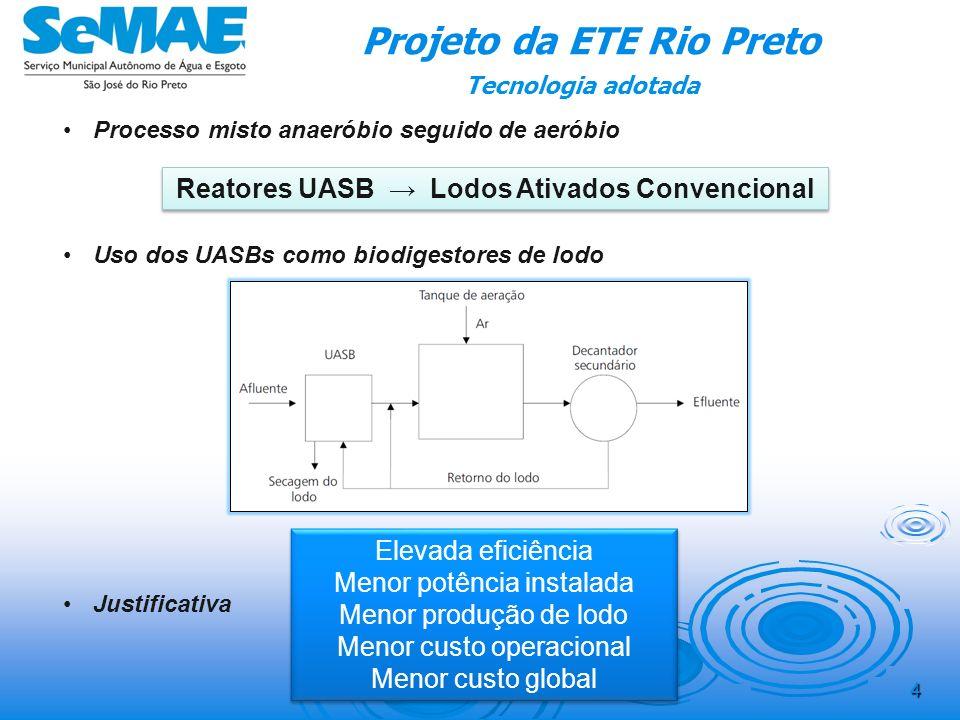 3 Sistema de esgotamento sanitário Até 2003 – coleta e afastamento 2003 – Conclusão do PDES 2004 – PB da ETE rio Preto; 2005 – PE da ETE rio Preto; 20