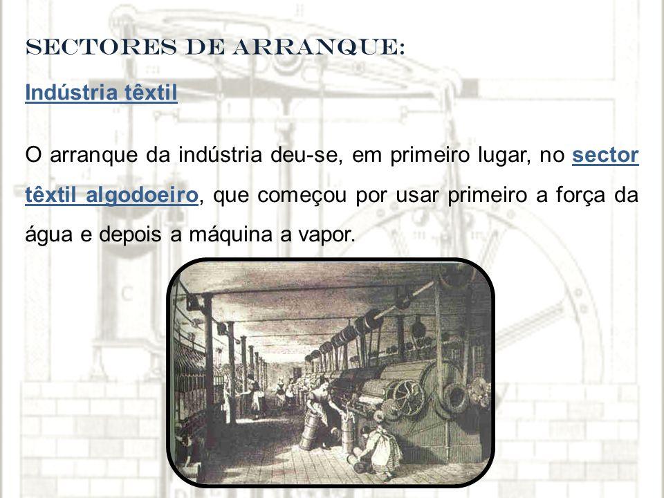 SECTORES DE ARRANQUE: Indústria têxtil O arranque da indústria deu-se, em primeiro lugar, no sector têxtil algodoeiro, que começou por usar primeiro a força da água e depois a máquina a vapor.