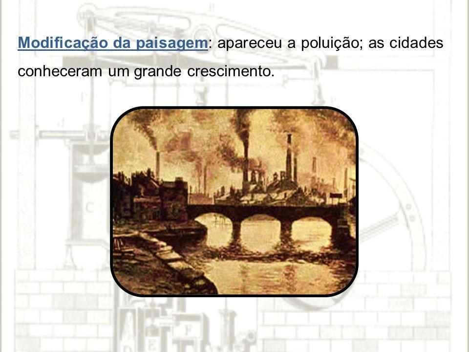 Modificação da paisagem: apareceu a poluição; as cidades conheceram um grande crescimento.