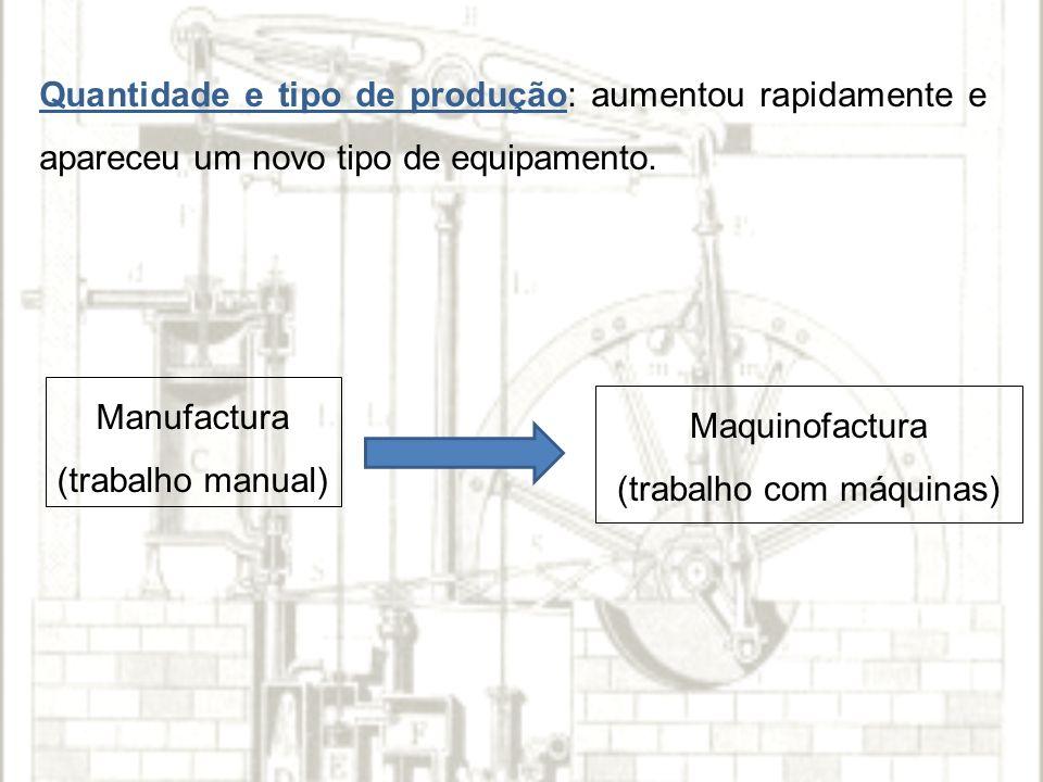 Quantidade e tipo de produção: aumentou rapidamente e apareceu um novo tipo de equipamento.