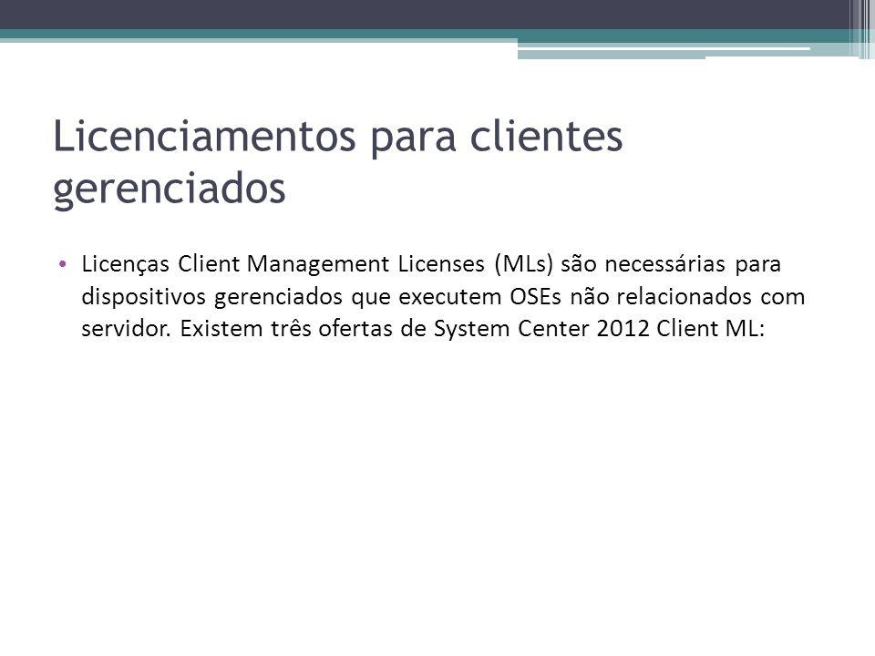 Licenciamentos para clientes gerenciados Licenças Client Management Licenses (MLs) são necessárias para dispositivos gerenciados que executem OSEs não