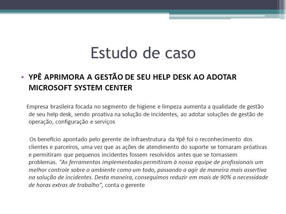 Estudo de caso YPÊ APRIMORA A GESTÃO DE SEU HELP DESK AO ADOTAR MICROSOFT SYSTEM CENTER Empresa brasileira focada no segmento de higiene e limpeza aum