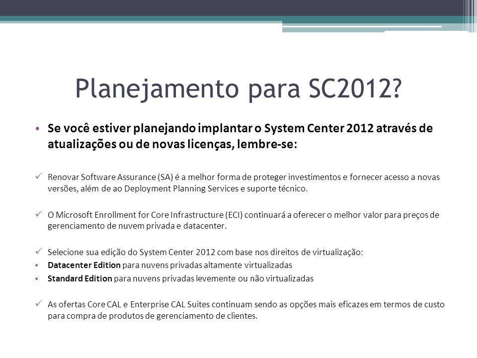 Planejamento para SC2012? Se você estiver planejando implantar o System Center 2012 através de atualizações ou de novas licenças, lembre-se: Renovar S