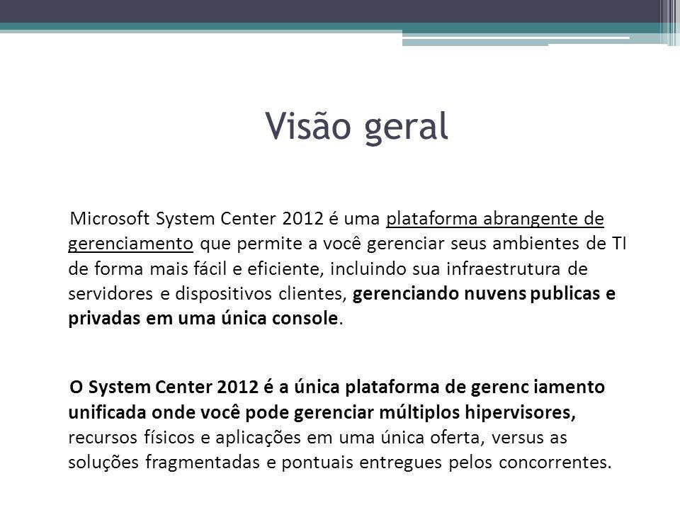 Visão geral Microsoft System Center 2012 é uma plataforma abrangente de gerenciamento que permite a você gerenciar seus ambientes de TI de forma mais