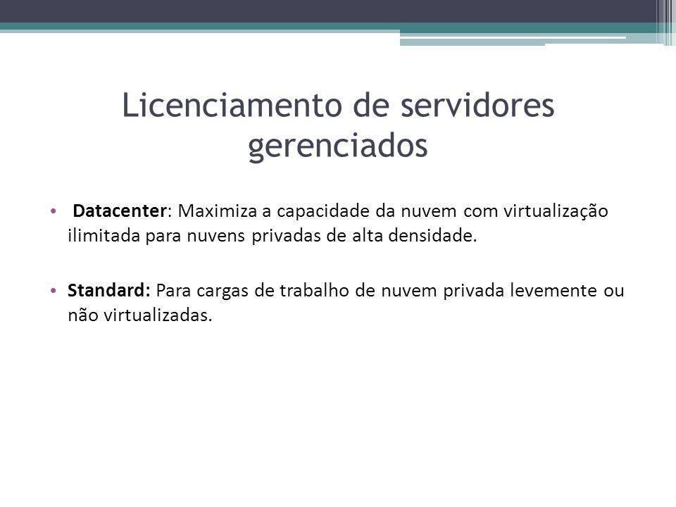 Licenciamento de servidores gerenciados Datacenter: Maximiza a capacidade da nuvem com virtualização ilimitada para nuvens privadas de alta densidade.