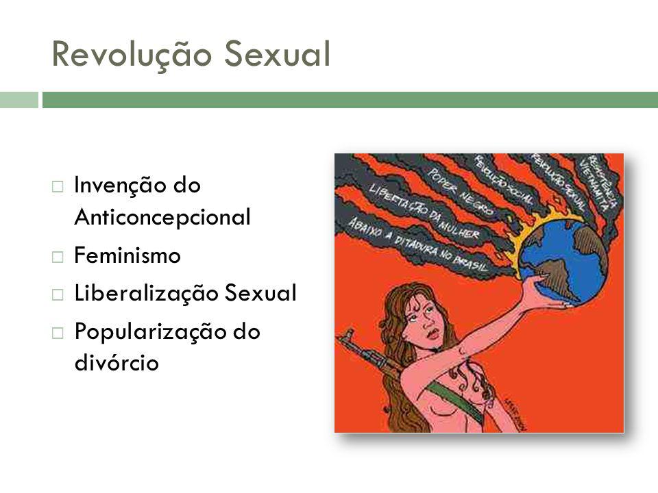 Revolução Sexual Invenção do Anticoncepcional Feminismo Liberalização Sexual Popularização do divórcio