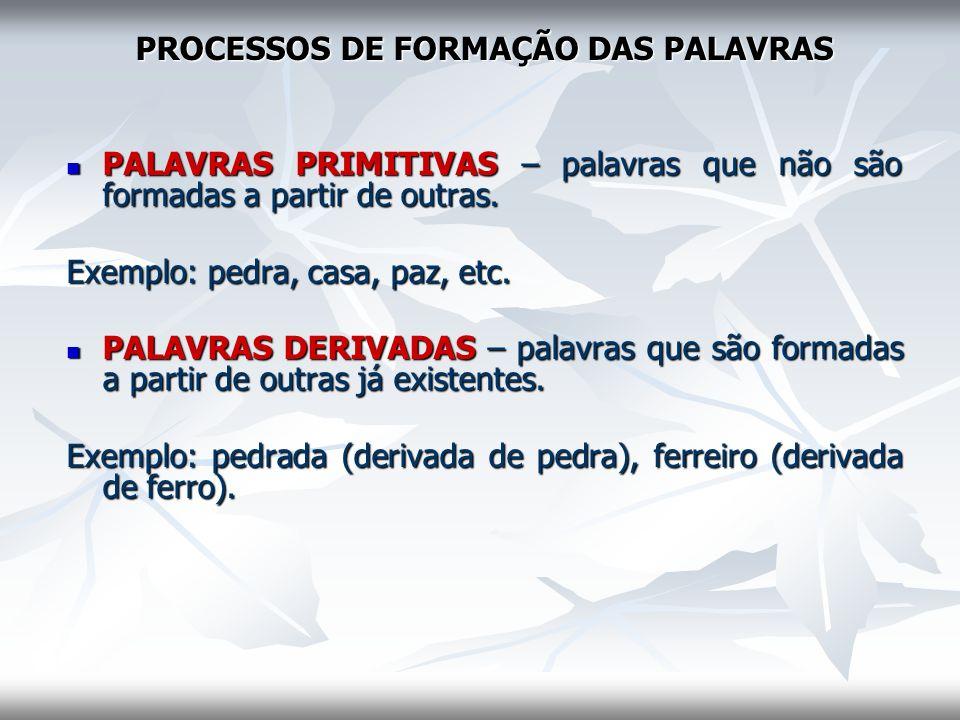 PROCESSOS DE FORMAÇÃO DAS PALAVRAS PALAVRAS PRIMITIVAS – palavras que não são formadas a partir de outras. PALAVRAS PRIMITIVAS – palavras que não são