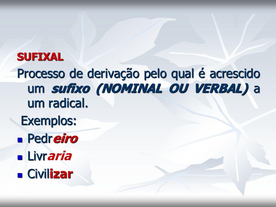 SUFIXAL Processo de derivação pelo qual é acrescido um sufixo (NOMINAL OU VERBAL) a um radical. Exemplos: Pedreiro Pedreiro Livr Livraria Civilizar Ci